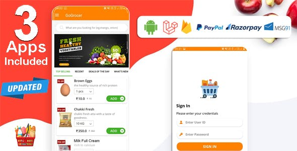 Multi-Store Grocery Delivery App with PHP Backend and Store & Delivery Boy App v1.6.9