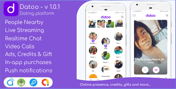 Datoo - Dating platform with Live Steaming and Video calls + Admin Panel V-1.0.7
