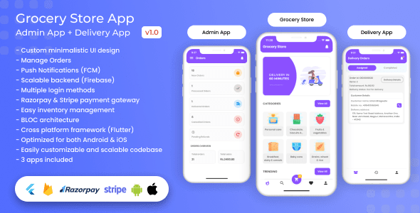 Grocery, Food, E-commerce Single Vendor Store with Admin App and Delivery App v1.3.0