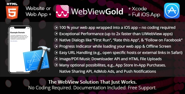 WebViewGold for iOS - WebView URL/HTML to iOS app + Push, URL Handling, APIs & much more v8.0 Untouched