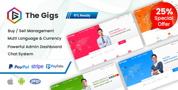 Thegigs - Freelance Marketplace Script with Admin panel(Web + Android + IOS) 4 December 20