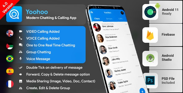Android Chatting App with Voice/Video Calls, Voice messages + Groups -Firebase | Complete App|YooHoo 23 June 20