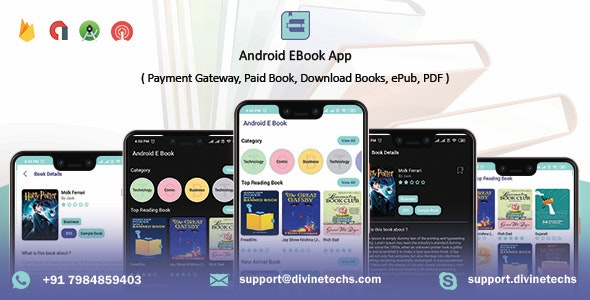 Android EBook App (Books App, PDF, ePub, Download Books, Paid book, payment gateway) + admin panel v1.8