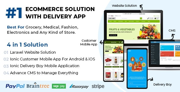 Best Ecommerce Solution with Delivery App For Grocery, Food, Pharmacy, Any Stores / Laravel + IONIC5 v1.0.6