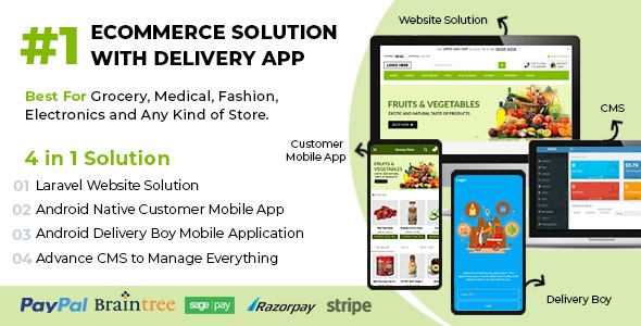 Ecommerce Solution with Delivery App For Grocery, Food, Pharmacy, Any Store / Laravel + Android Apps v1.0.6