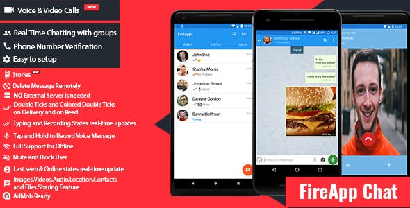 FireApp Chat v1.2.4 - Android Chatting App with Groups Inspired by WhatsApp 1.2.4
