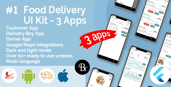 Food Delivery UI Kit in Flutter - 3 Apps - Customer App + Delivery App + Owner App v-1.0.0