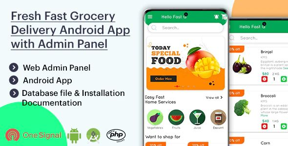 Fresh Fast Grocery Delivery Android App with Interactive Admin Panel v1.2