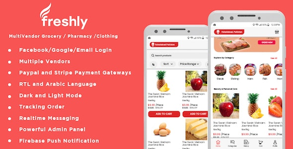 Freshly - Native Multi Vendor Grocery, Food, Pharmacy, Store Delivery Mobile App with Admin Panel 5 August 20