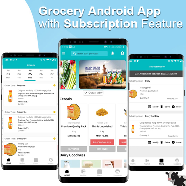 Grocery & Daily Needs Delivery Android App - Milkbasket Clone with Subscription Option & PHP Backend v1.2