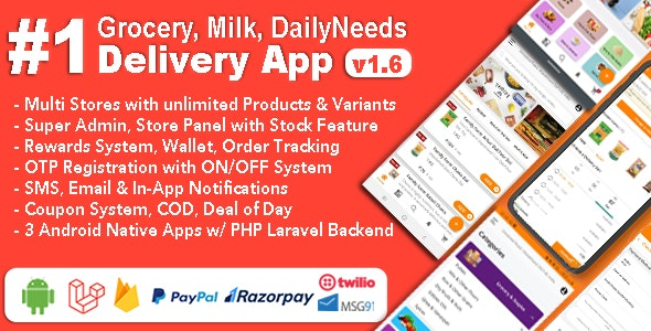 Grocery, Milk, DailyNeeds, Store Delivery Mobile App with Admin Panel | Multi-Store with 3 Apps V 1.6.1