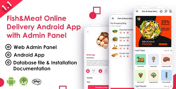 Fish And Meat Online Delivery Android App with Interactive Admin Panel V1.1