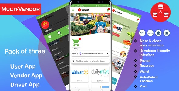 Multi Vendor Grocery Android App with Backend | Bigbasket-Grofers-Happyfresh Clone | Android v1.4