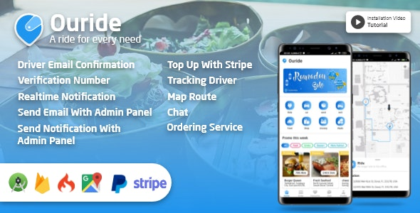 Ouride - Multi Service App With Customer App, Driver App, Merchant App and Admin Panel v2.1.0