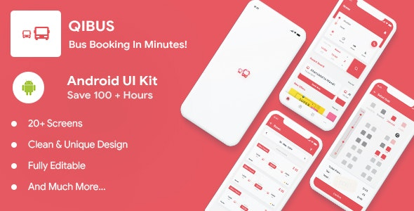 QIBus- Bus booking android app ui template - Kotlin v-2.0