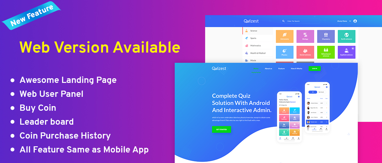 Quizest - Complete Quiz Solutions With Android App And Interactive Admin Panel v1.5