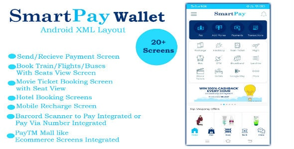 SmartPay Wallet :- Android XML Screens Layout 2020-08-30