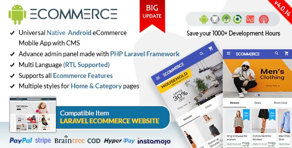 Android Ecommerce - Universal Android Ecommerce / Store Full Mobile App with Laravel CMSa v1.0.21 Nulled