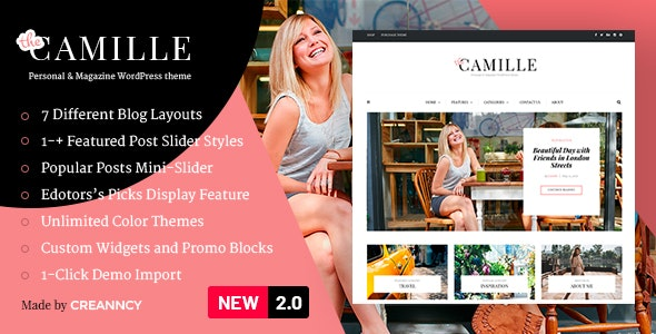 Camille - Personal & Magazine WordPress Theme v2.2