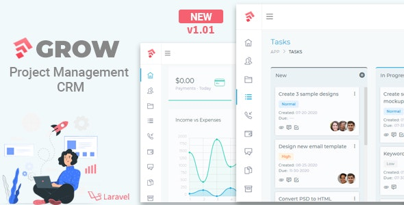 Grow - Project Management CRM With Invoicing Estimates Leads And Tasks v1.01
