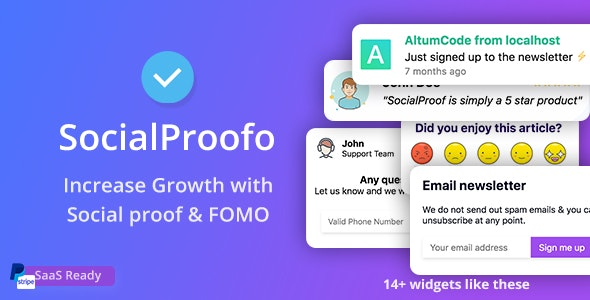 SocialProofo - 14+ Social Proof & FOMO Notifications for Growth (SaaS Ready) v1.8.1