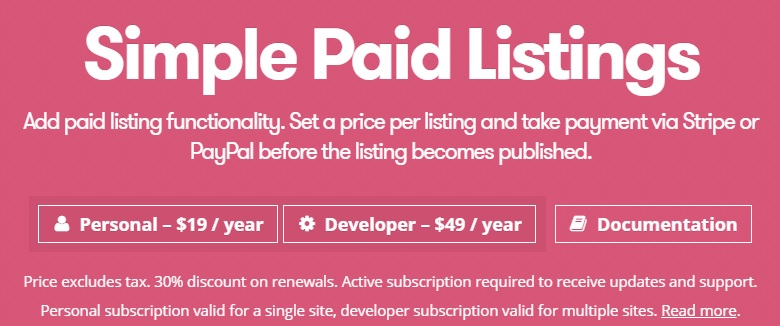 WP Job Manager Simple Paid Listings Add-on v1.4.1