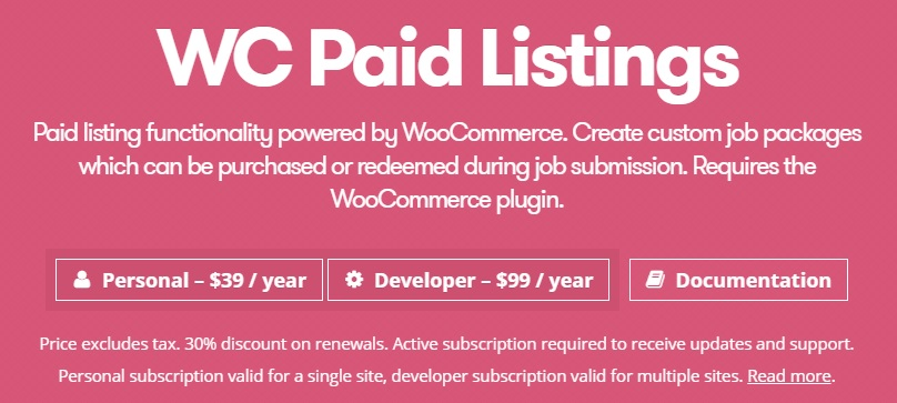 WP Job Manager WC Paid Listings Add-on v2.8.3