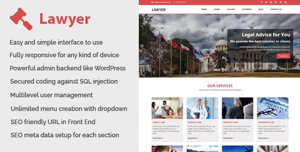 Lawyer - Law and Attorney Website CMS v1.3